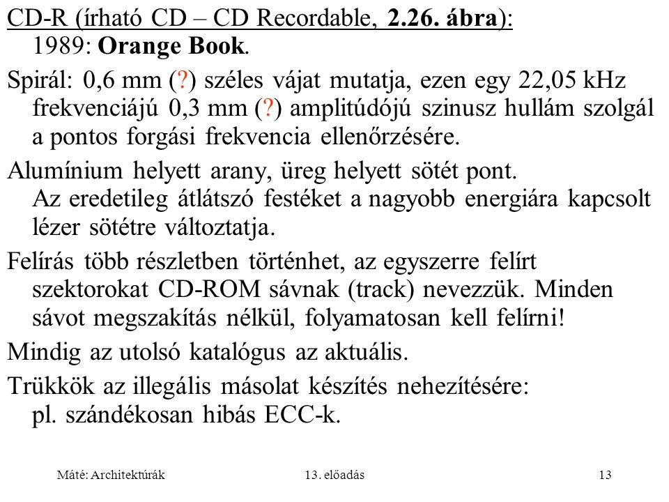 Máté: Architektúrák13.előadás13 CD-R (írható CD – CD Recordable, 2.26.