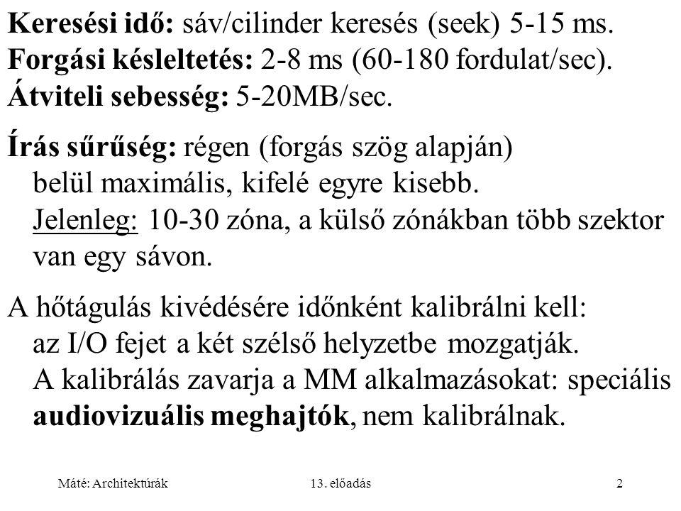 Máté: Architektúrák13.előadás2 Keresési idő: sáv/cilinder keresés (seek) 5-15 ms.