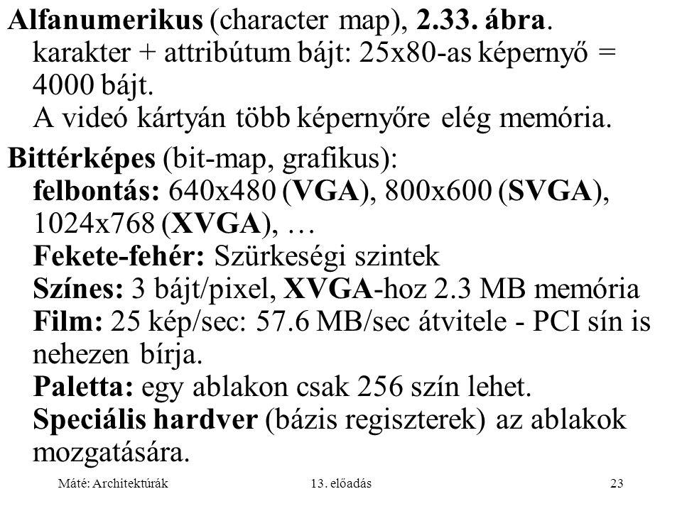 Máté: Architektúrák13.előadás23 Alfanumerikus (character map), 2.33.