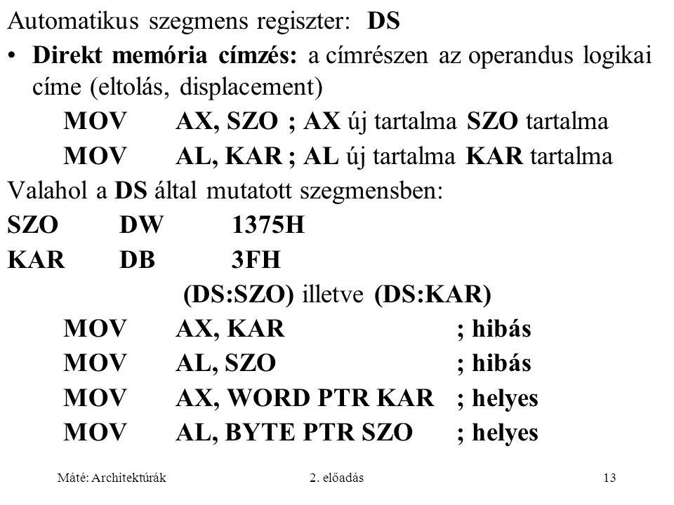 Máté: Architektúrák2. előadás13 Automatikus szegmens regiszter: DS Direkt memória címzés: a címrészen az operandus logikai címe (eltolás, displacement
