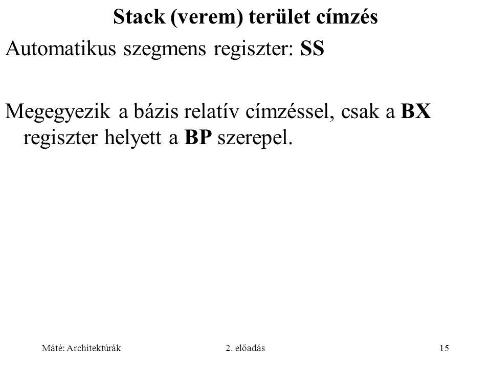 Máté: Architektúrák2. előadás15 Stack (verem) terület címzés Automatikus szegmens regiszter: SS Megegyezik a bázis relatív címzéssel, csak a BX regisz