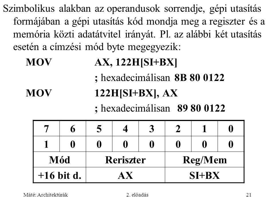 Máté: Architektúrák2. előadás21 Szimbolikus alakban az operandusok sorrendje, gépi utasítás formájában a gépi utasítás kód mondja meg a regiszter és a