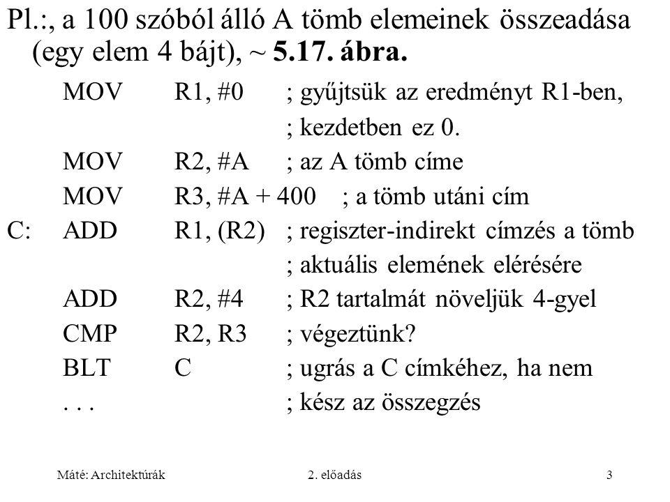 Máté: Architektúrák2. előadás3 Pl.:, a 100 szóból álló A tömb elemeinek összeadása (egy elem 4 bájt), ~ 5.17. ábra. MOVR1, #0; gyűjtsük az eredményt R