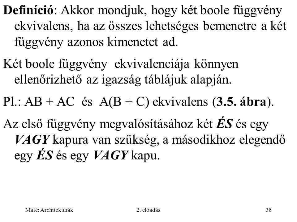 Máté: Architektúrák2. előadás38 Definíció: Akkor mondjuk, hogy két boole függvény ekvivalens, ha az összes lehetséges bemenetre a két függvény azonos