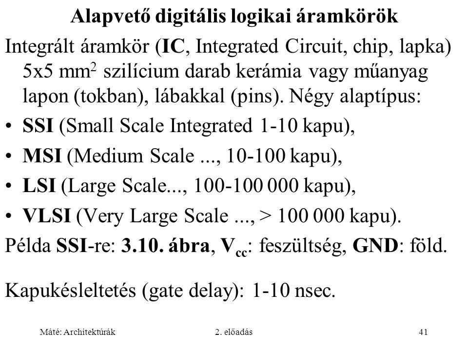 Máté: Architektúrák2. előadás41 Alapvető digitális logikai áramkörök Integrált áramkör (IC, Integrated Circuit, chip, lapka) 5x5 mm 2 szilícium darab