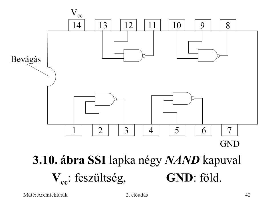 Máté: Architektúrák2. előadás42 3.10. ábra SSI lapka négy NAND kapuval V cc : feszültség, GND: föld. 1413121110 98 1234567 V cc GND Bevágás