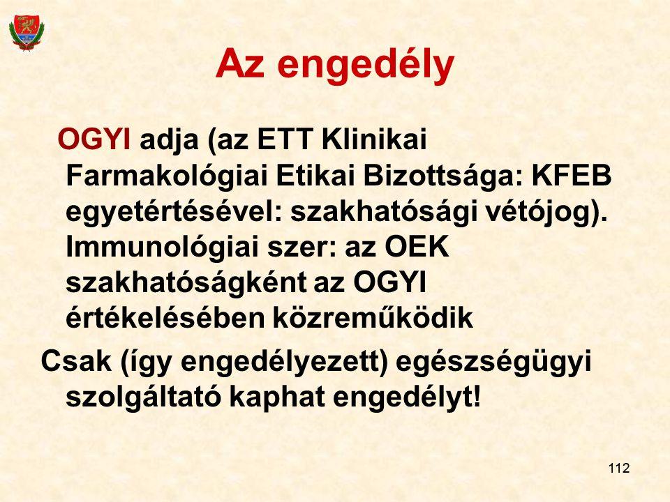 112 Az engedély OGYI adja (az ETT Klinikai Farmakológiai Etikai Bizottsága: KFEB egyetértésével: szakhatósági vétójog). Immunológiai szer: az OEK szak