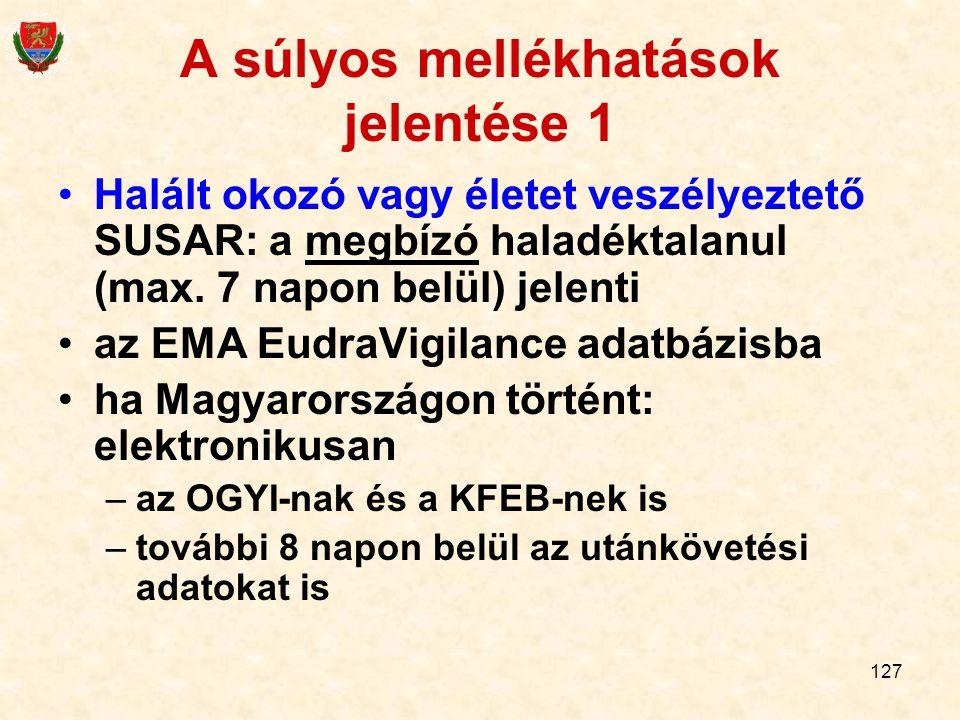 127 A súlyos mellékhatások jelentése 1 Halált okozó vagy életet veszélyeztető SUSAR: a megbízó haladéktalanul (max. 7 napon belül) jelenti az EMA Eudr