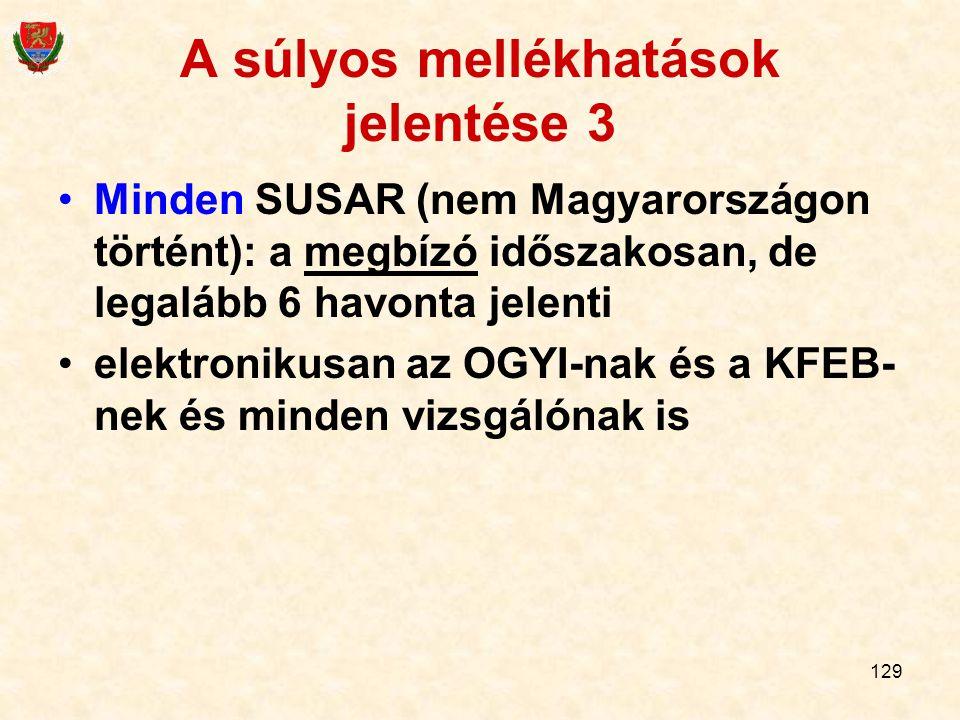 129 A súlyos mellékhatások jelentése 3 Minden SUSAR (nem Magyarországon történt): a megbízó időszakosan, de legalább 6 havonta jelenti elektronikusan