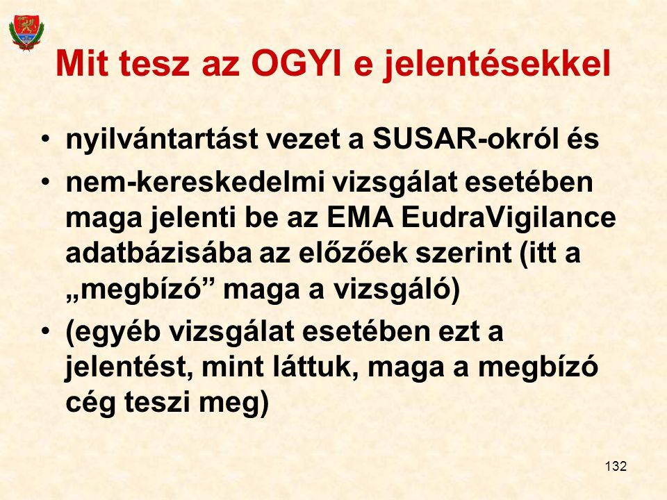 132 Mit tesz az OGYI e jelentésekkel nyilvántartást vezet a SUSAR-okról és nem-kereskedelmi vizsgálat esetében maga jelenti be az EMA EudraVigilance a