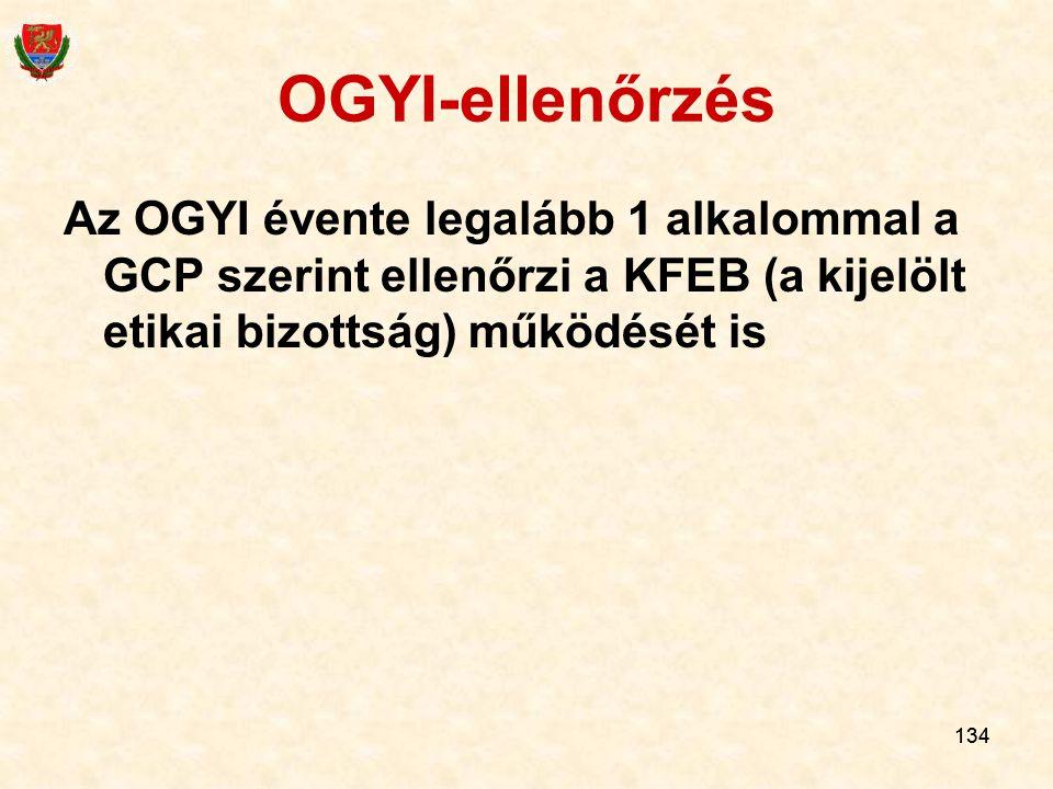 134 OGYI-ellenőrzés Az OGYI évente legalább 1 alkalommal a GCP szerint ellenőrzi a KFEB (a kijelölt etikai bizottság) működését is 134