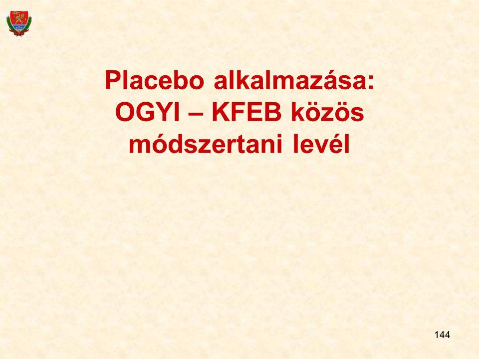 144 Placebo alkalmazása: OGYI – KFEB közös módszertani levél