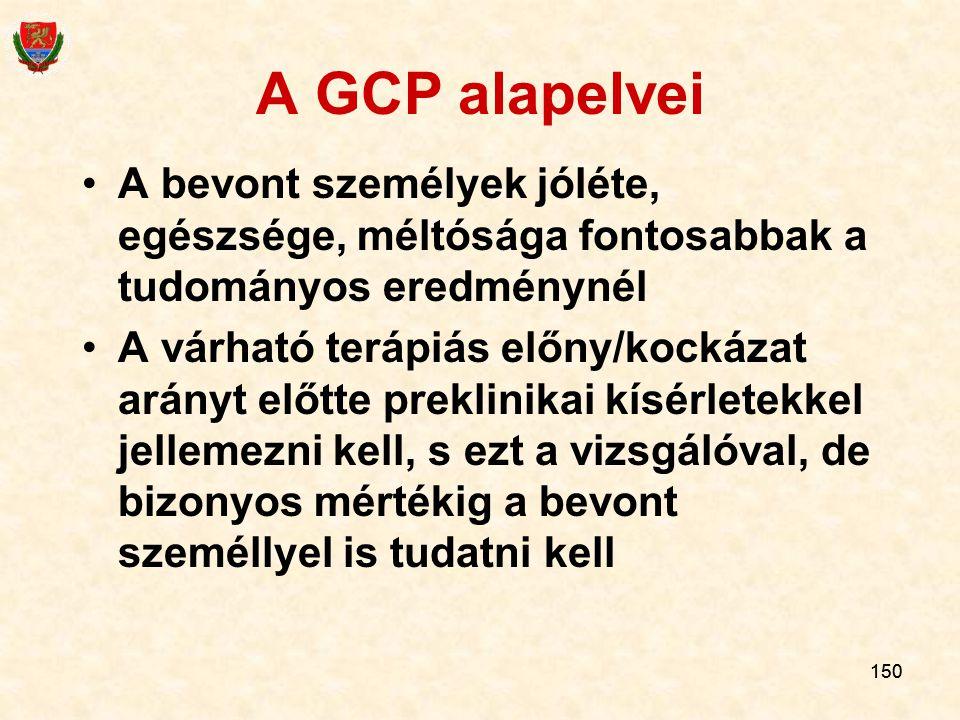 150 A GCP alapelvei A bevont személyek jóléte, egészsége, méltósága fontosabbak a tudományos eredménynél A várható terápiás előny/kockázat arányt előt