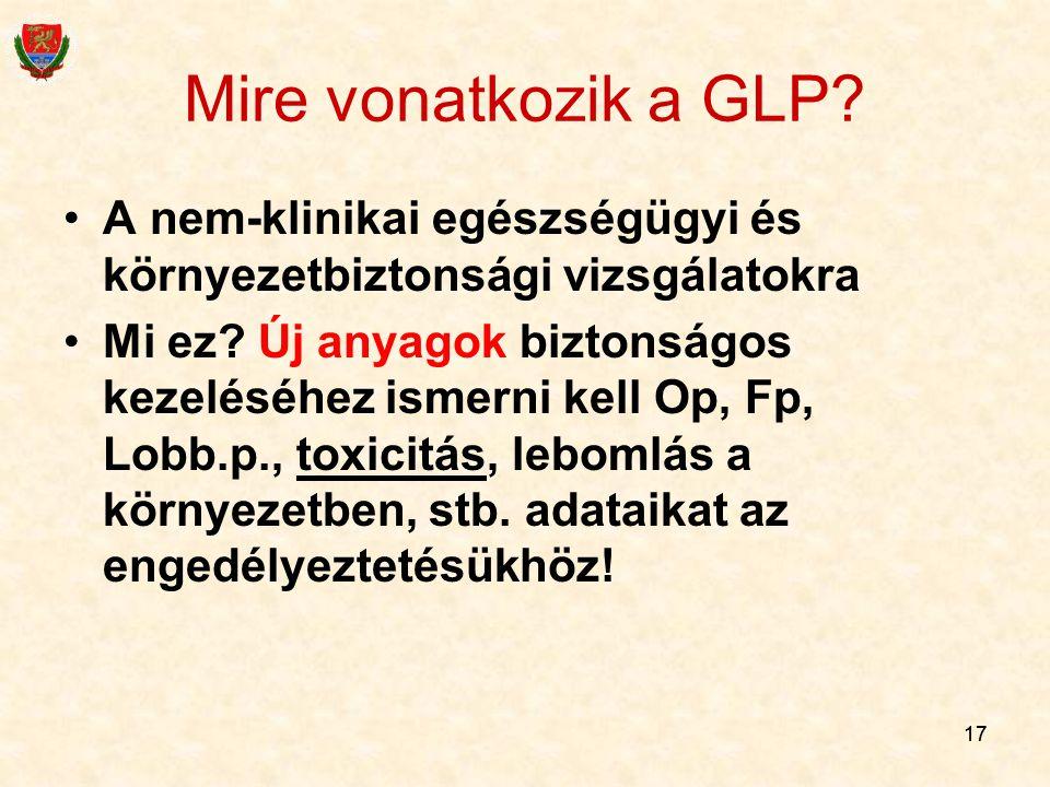 17 Mire vonatkozik a GLP? A nem-klinikai egészségügyi és környezetbiztonsági vizsgálatokra Mi ez? Új anyagok biztonságos kezeléséhez ismerni kell Op,