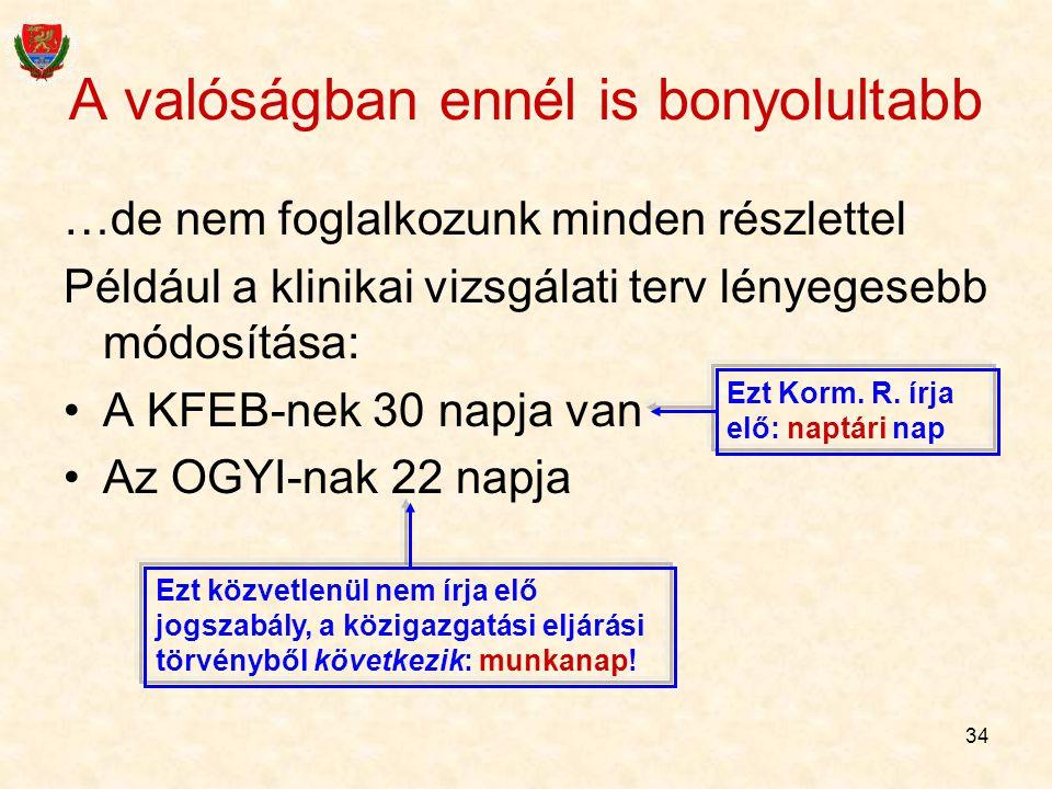 34 A valóságban ennél is bonyolultabb …de nem foglalkozunk minden részlettel Például a klinikai vizsgálati terv lényegesebb módosítása: A KFEB-nek 30