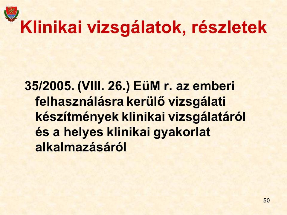 50 Klinikai vizsgálatok, részletek 35/2005. (VIII. 26.) EüM r. az emberi felhasználásra kerülő vizsgálati készítmények klinikai vizsgálatáról és a hel