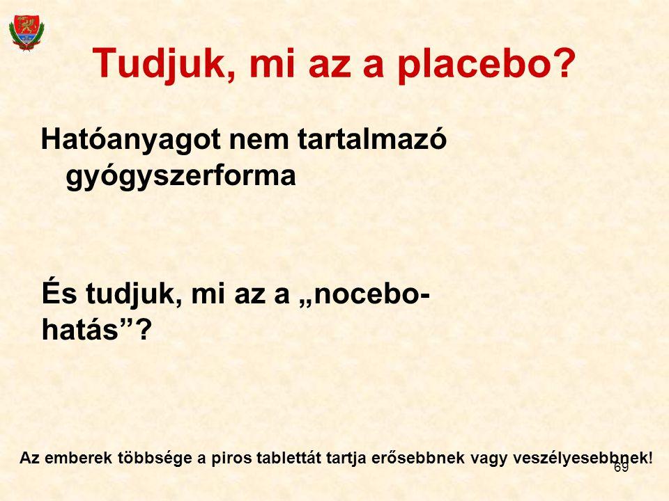 """69 Tudjuk, mi az a placebo? Hatóanyagot nem tartalmazó gyógyszerforma És tudjuk, mi az a """"nocebo- hatás""""? Az emberek többsége a piros tablettát tartja"""
