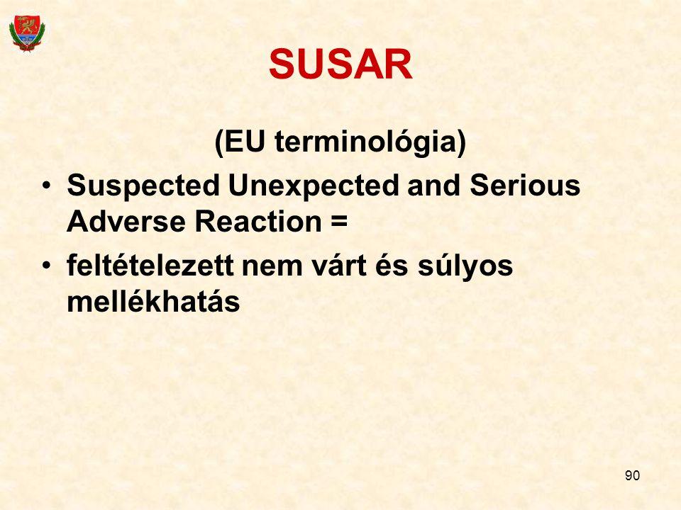 90 SUSAR (EU terminológia) Suspected Unexpected and Serious Adverse Reaction = feltételezett nem várt és súlyos mellékhatás