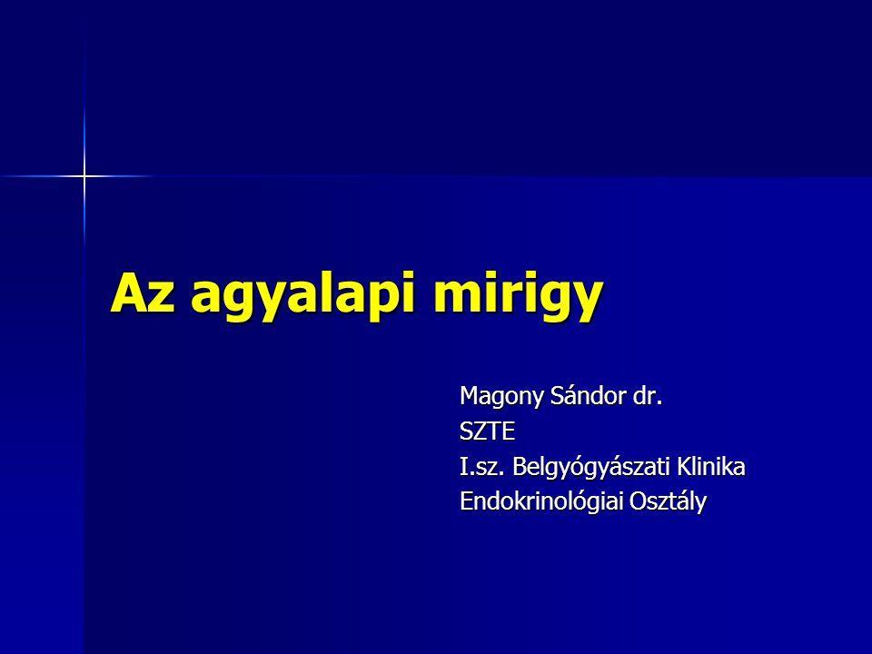 Az agyalapi mirigy Magony Sándor dr. SZTE I.sz. Belgyógyászati Klinika Endokrinológiai Osztály