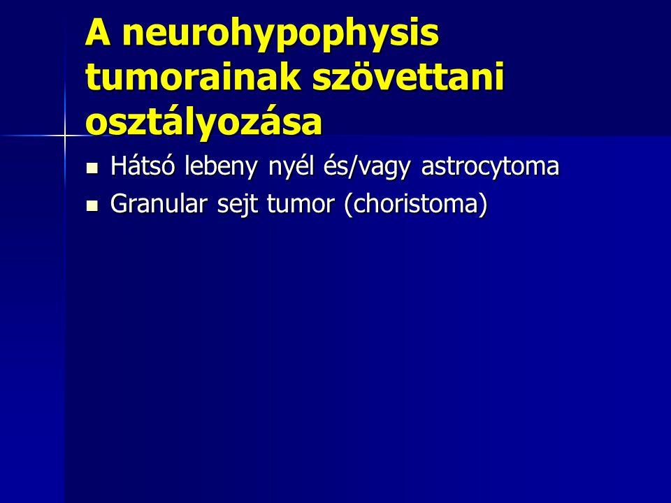 A neurohypophysis tumorainak szövettani osztályozása Hátsó lebeny nyél és/vagy astrocytoma Hátsó lebeny nyél és/vagy astrocytoma Granular sejt tumor (