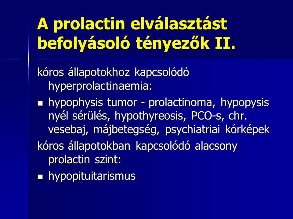 A prolactin elválasztást befolyásoló tényezők II. kóros állapotokhoz kapcsolódó hyperprolactinaemia: hypophysis tumor - prolactinoma, hypopysis nyél s