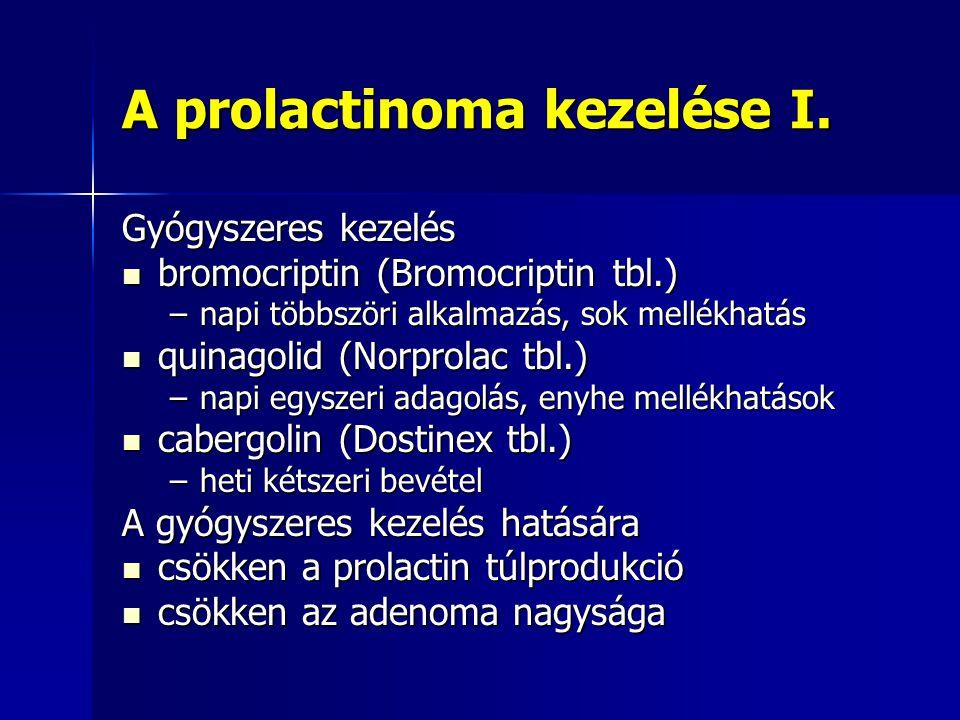 A prolactinoma kezelése I. Gyógyszeres kezelés bromocriptin (Bromocriptin tbl.) bromocriptin (Bromocriptin tbl.) –napi többszöri alkalmazás, sok mellé