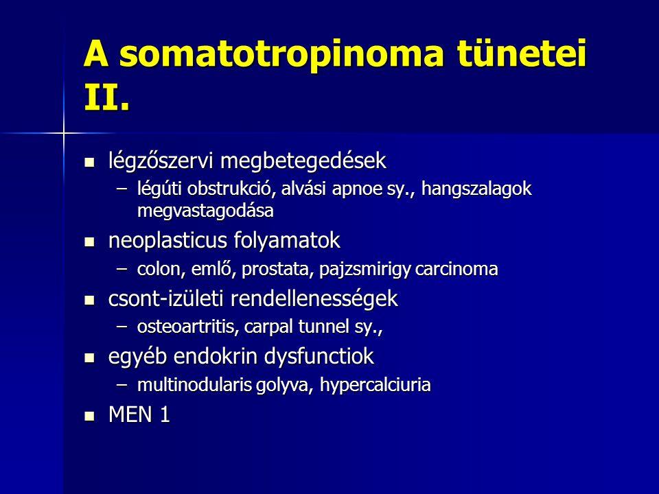 A somatotropinoma tünetei II. légzőszervi megbetegedések légzőszervi megbetegedések –légúti obstrukció, alvási apnoe sy., hangszalagok megvastagodása