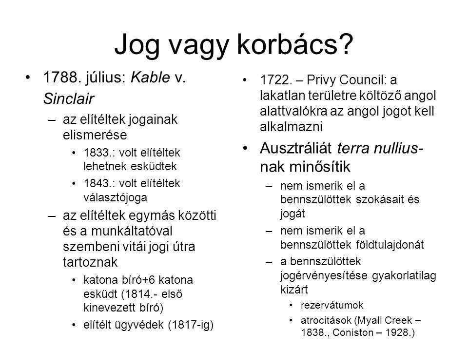 Jog vagy korbács.1788. július: Kable v.