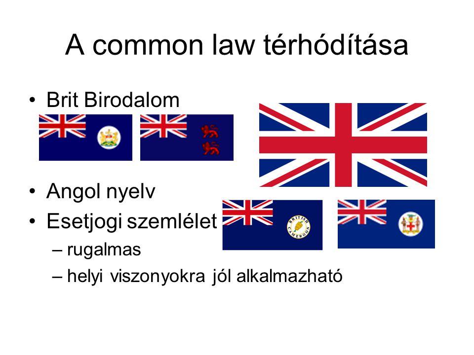 A common law térhódítása Brit Birodalom Angol nyelv Esetjogi szemlélet –rugalmas –helyi viszonyokra jól alkalmazható