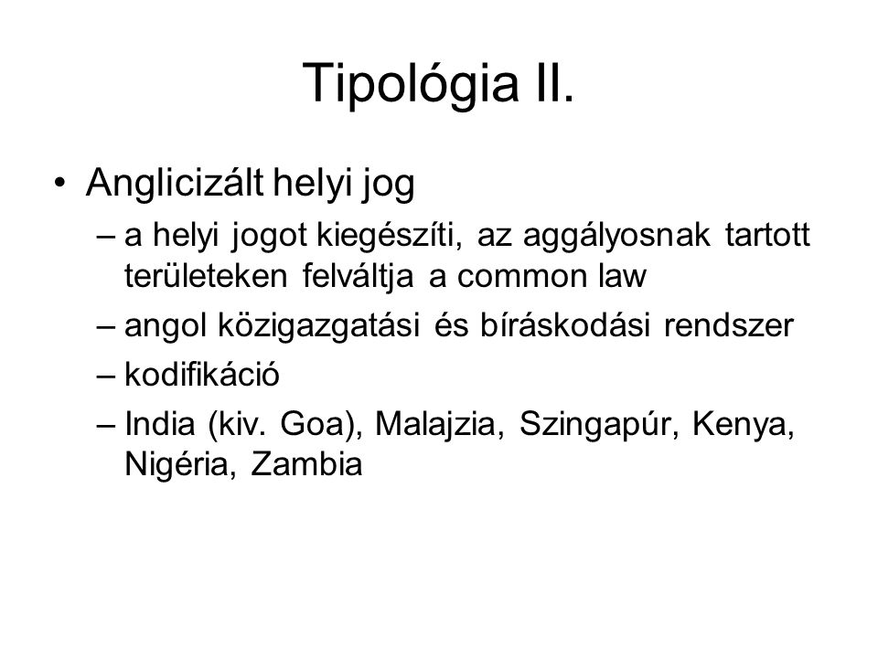 Tipológia II.