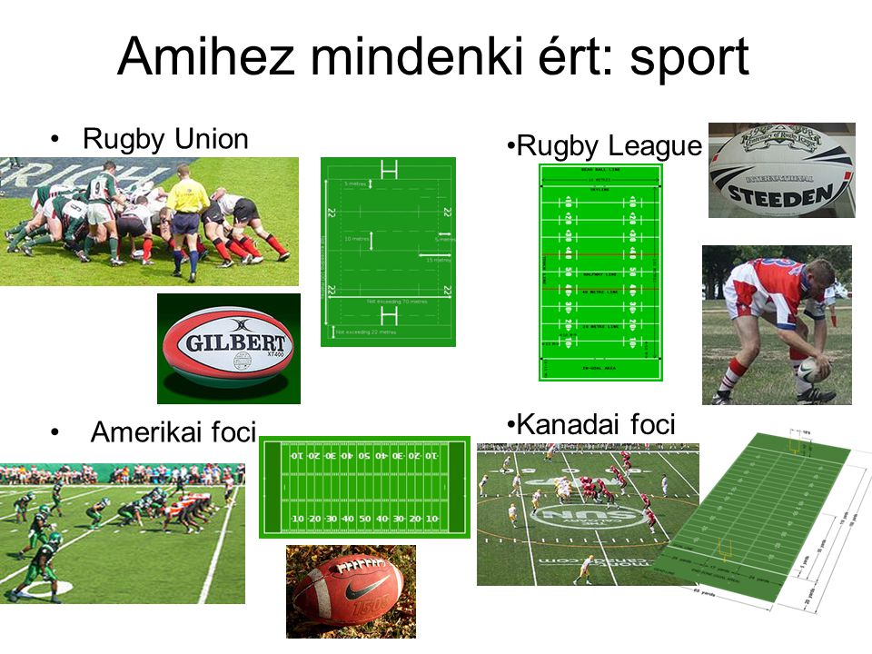 Amihez mindenki ért: sport Rugby Union Amerikai foci Rugby League Kanadai foci