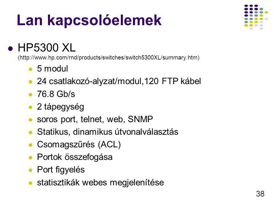 38 Lan kapcsolóelemek HP5300 XL (http://www.hp.com/rnd/products/switches/switch5300XL/summary.htm) 5 modul 24 csatlakozó-alyzat/modul,120 FTP kábel 76