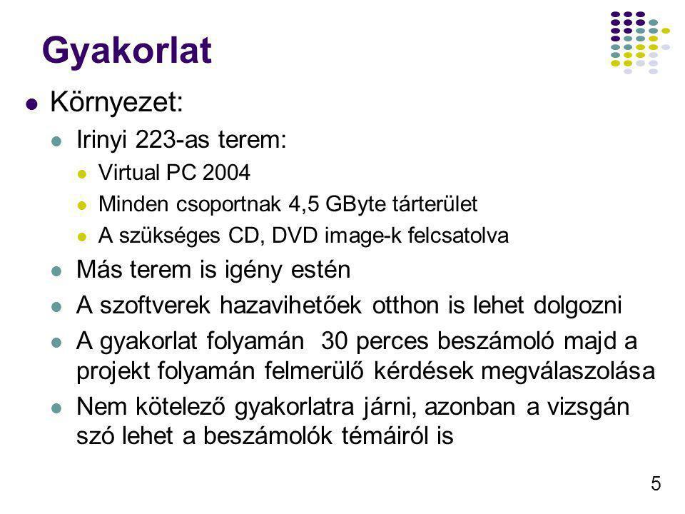 5 Gyakorlat Környezet: Irinyi 223-as terem: Virtual PC 2004 Minden csoportnak 4,5 GByte tárterület A szükséges CD, DVD image-k felcsatolva Más terem i