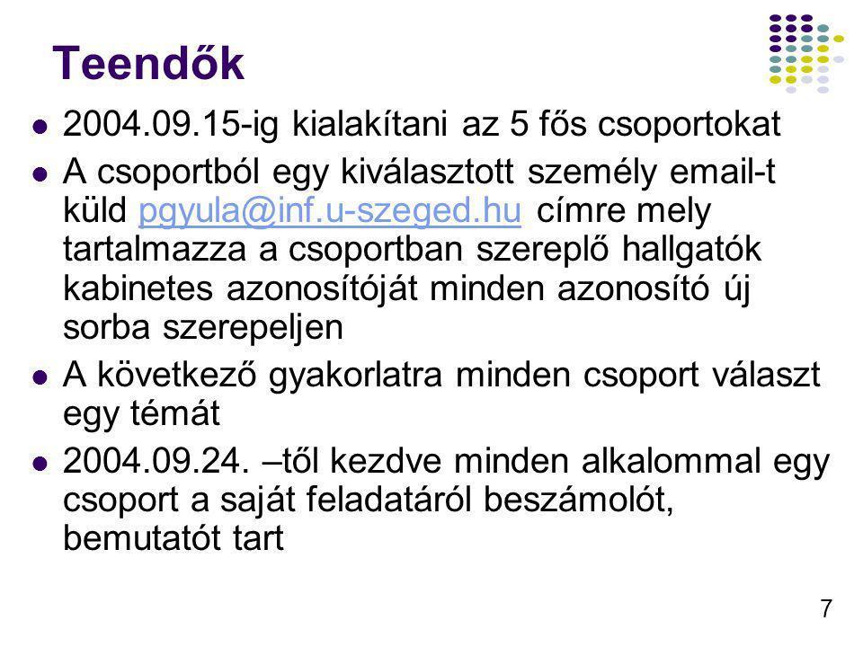 7 Teendők 2004.09.15-ig kialakítani az 5 fős csoportokat A csoportból egy kiválasztott személy email-t küld pgyula@inf.u-szeged.hu címre mely tartalma