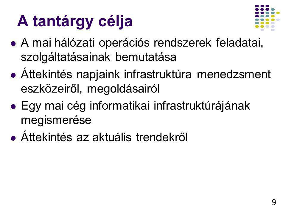10 Tematika 1.Az Informatikai tanszékcsoport informatikai infrastruktúrája 2.