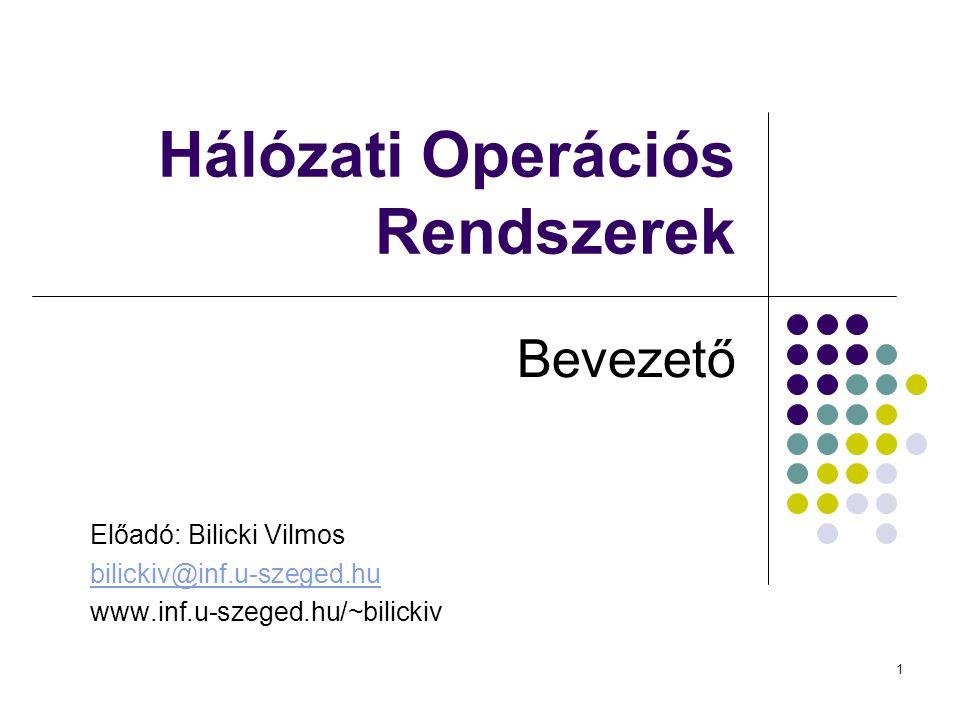 1 Hálózati Operációs Rendszerek Bevezető Előadó: Bilicki Vilmos bilickiv@inf.u-szeged.hu www.inf.u-szeged.hu/~bilickiv