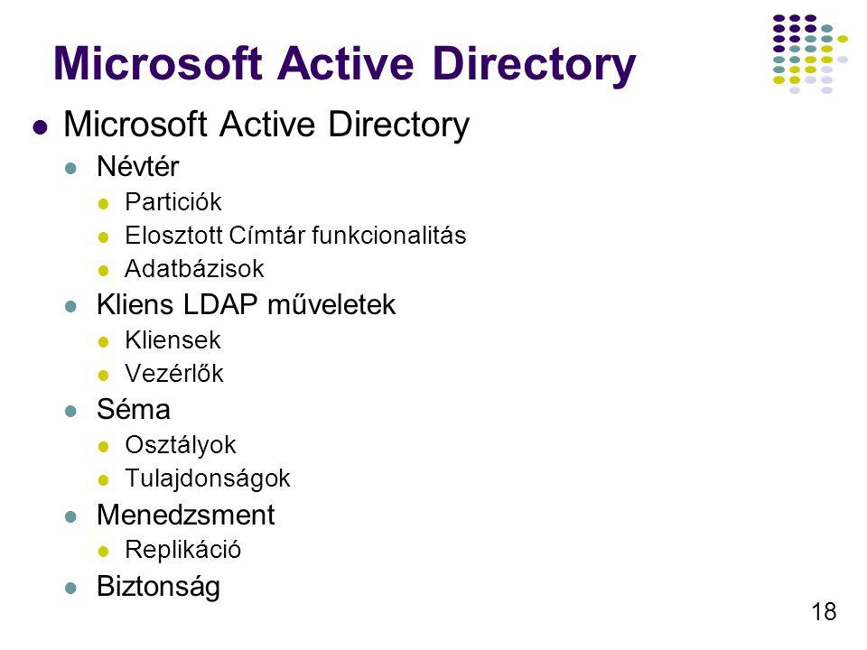 18 Microsoft Active Directory Névtér Particiók Elosztott Címtár funkcionalitás Adatbázisok Kliens LDAP műveletek Kliensek Vezérlők Séma Osztályok Tula