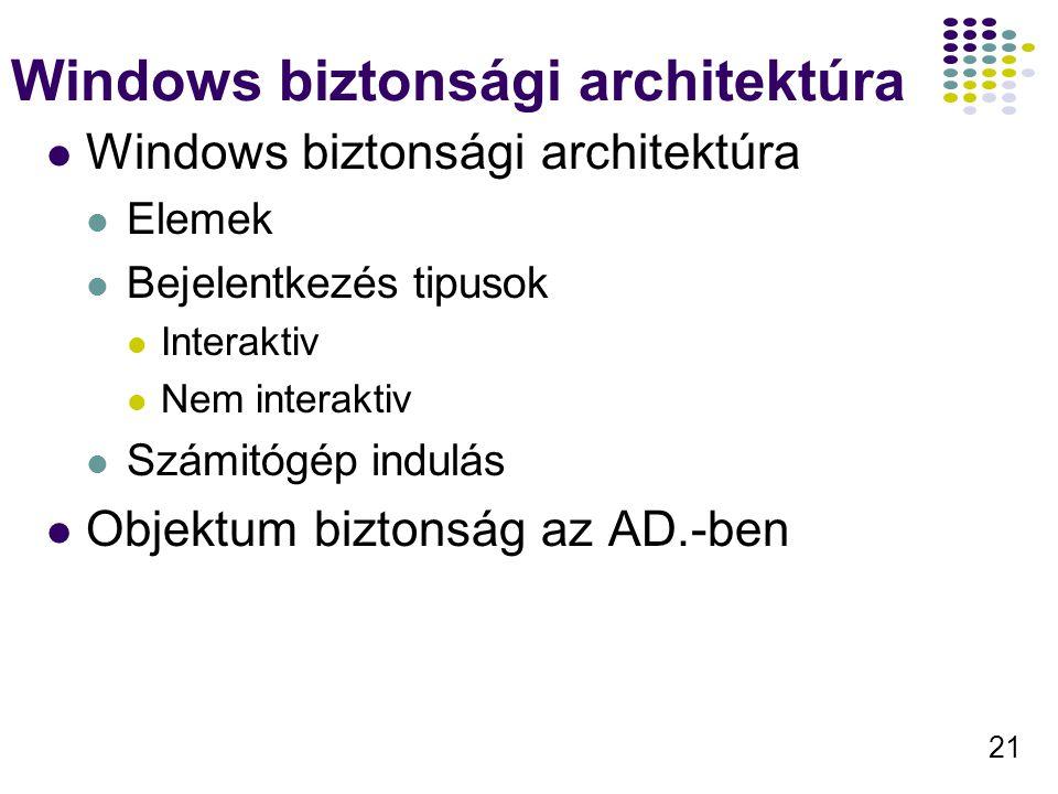 21 Windows biztonsági architektúra Elemek Bejelentkezés tipusok Interaktiv Nem interaktiv Számitógép indulás Objektum biztonság az AD.-ben