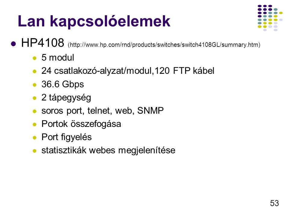 53 Lan kapcsolóelemek HP4108 (http://www.hp.com/rnd/products/switches/switch4108GL/summary.htm) 5 modul 24 csatlakozó-alyzat/modul,120 FTP kábel 36.6