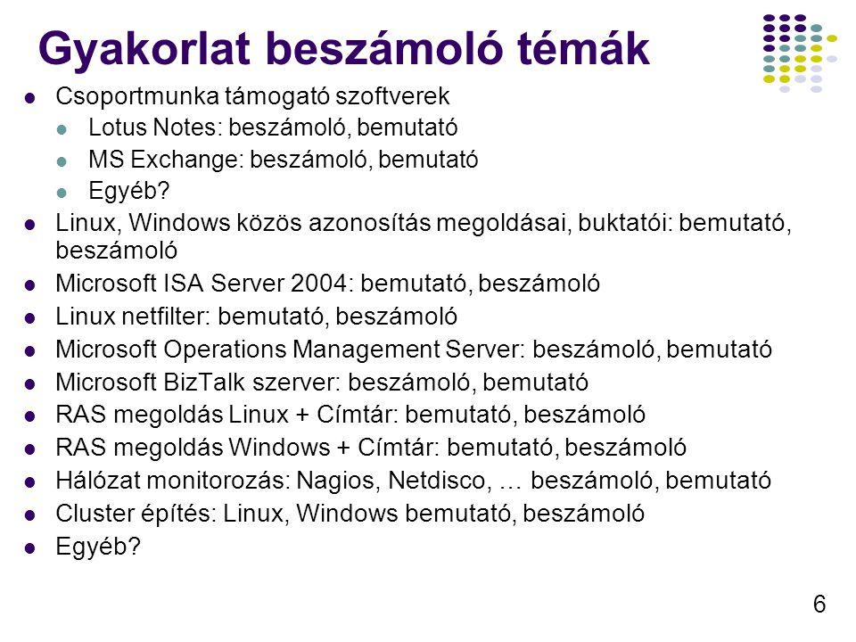 6 Gyakorlat beszámoló témák Csoportmunka támogató szoftverek Lotus Notes: beszámoló, bemutató MS Exchange: beszámoló, bemutató Egyéb? Linux, Windows k
