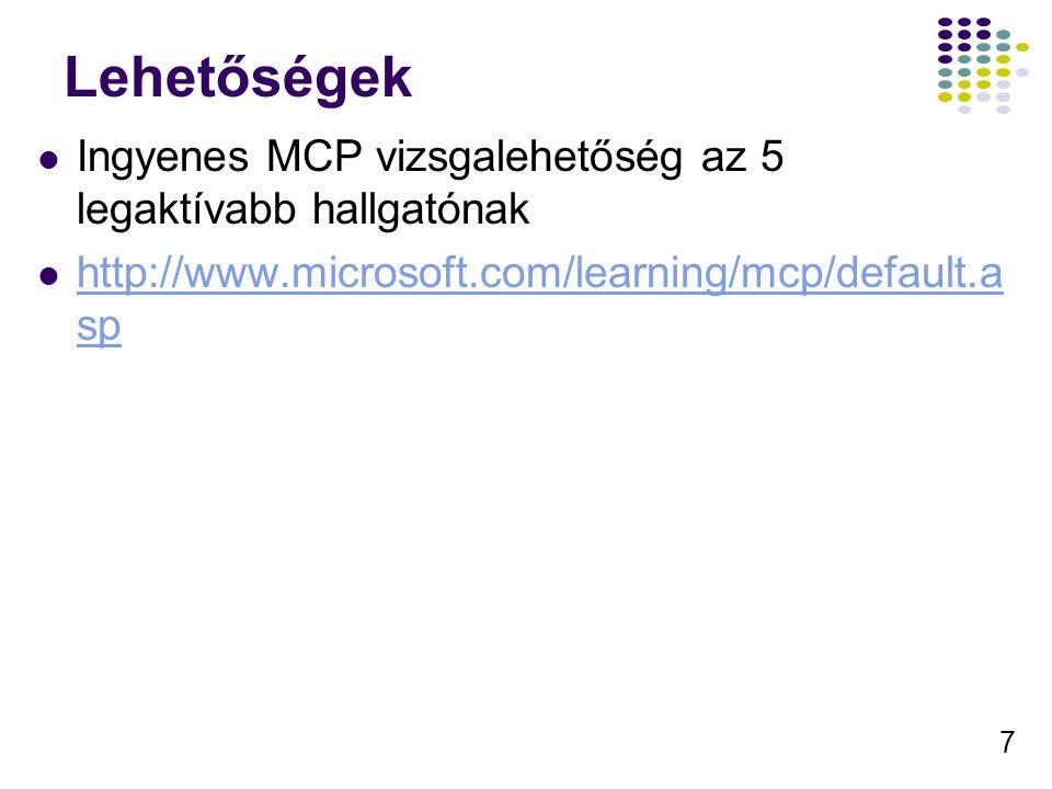 7 Lehetőségek Ingyenes MCP vizsgalehetőség az 5 legaktívabb hallgatónak http://www.microsoft.com/learning/mcp/default.a sp http://www.microsoft.com/le