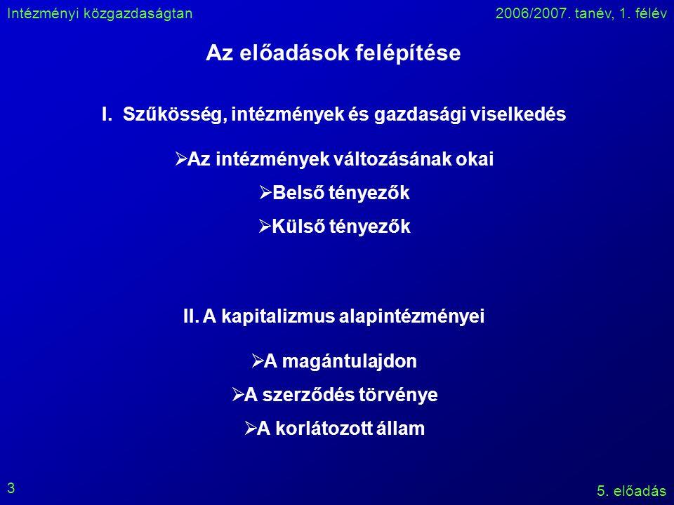 Intézményi közgazdaságtan2006/2007. tanév, 1. félév 5.