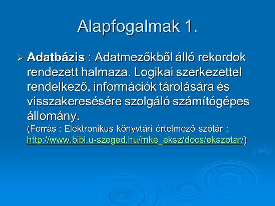 Alapfogalmak 1. Adatbázis : Adatmezőkből álló rekordok rendezett halmaza.