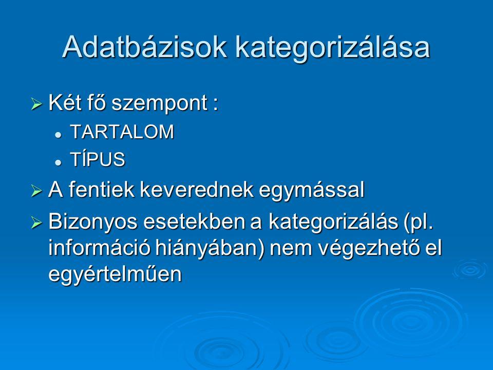 Adatbázisok kategorizálása  Két fő szempont : TARTALOM TARTALOM TÍPUS TÍPUS  A fentiek keverednek egymással  Bizonyos esetekben a kategorizálás (pl.
