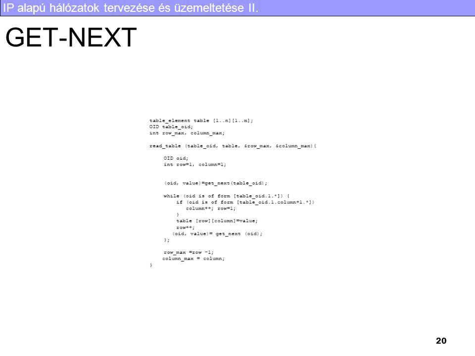 IP alapú hálózatok tervezése és üzemeltetése II. 20 GET-NEXT