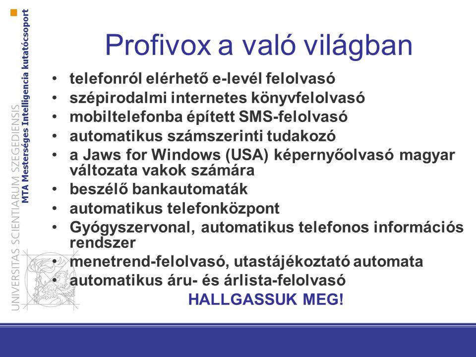 Profivox a való világban telefonról elérhető e-levél felolvasó szépirodalmi internetes könyvfelolvasó mobiltelefonba épített SMS-felolvasó automatikus
