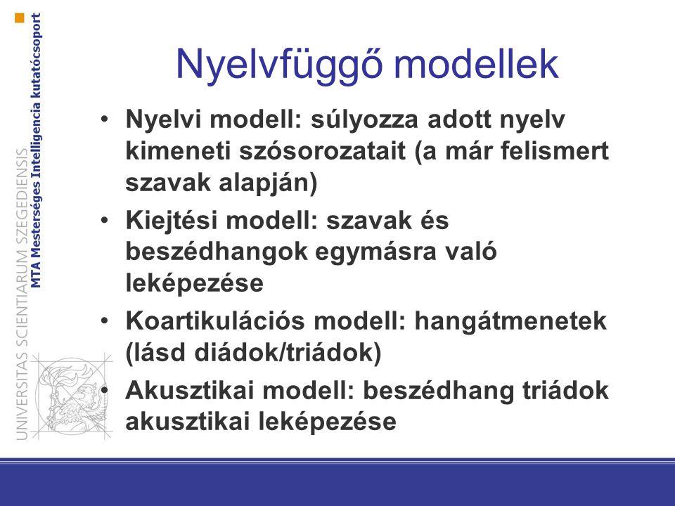 Nyelvfüggő modellek Nyelvi modell: súlyozza adott nyelv kimeneti szósorozatait (a már felismert szavak alapján) Kiejtési modell: szavak és beszédhango