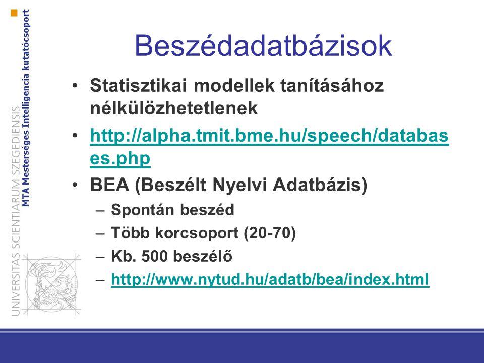 Beszédadatbázisok Statisztikai modellek tanításához nélkülözhetetlenek http://alpha.tmit.bme.hu/speech/databas es.phphttp://alpha.tmit.bme.hu/speech/d