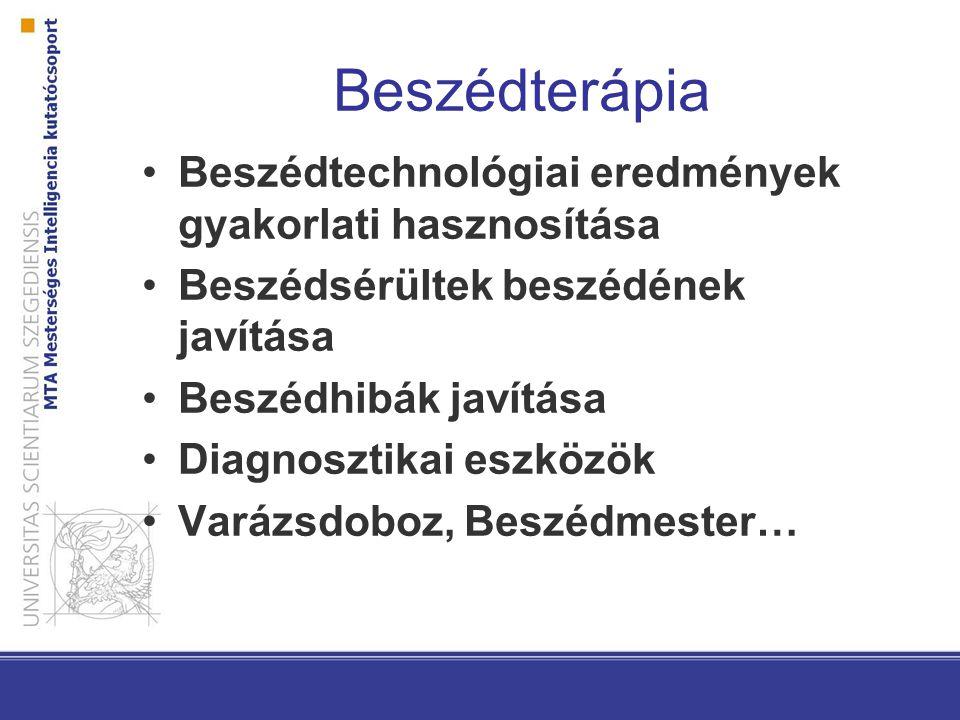 Beszédterápia Beszédtechnológiai eredmények gyakorlati hasznosítása Beszédsérültek beszédének javítása Beszédhibák javítása Diagnosztikai eszközök Var