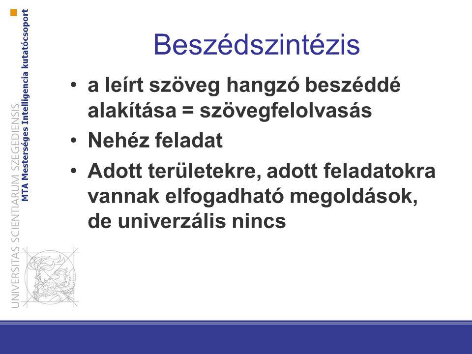 Beszédszintézis a leírt szöveg hangzó beszéddé alakítása = szövegfelolvasás Nehéz feladat Adott területekre, adott feladatokra vannak elfogadható mego